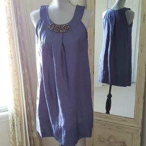 C2 Studio Blue Gem Neckline Date Night Dress